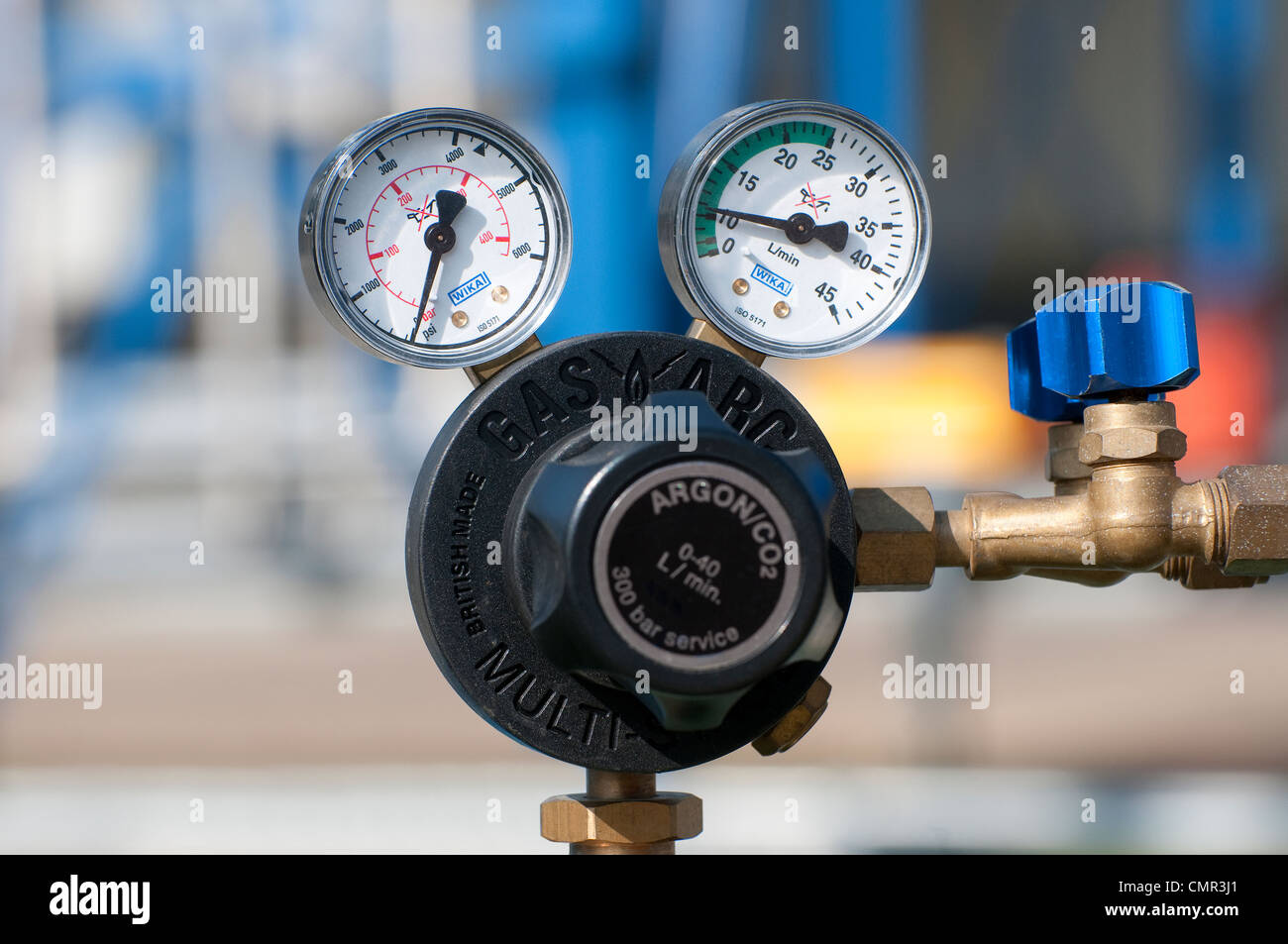 industrial chemical plant, argon co2 gas regulator pressure valves - Stock Image