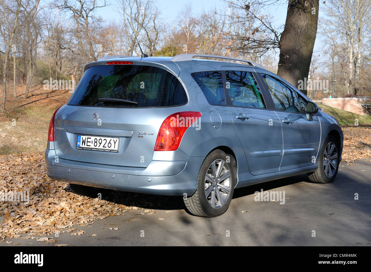 Peugeot 308 SW - MY 2007 (FL 2011) - French popular lower-medium class car (segment C) - at park Stock Photo