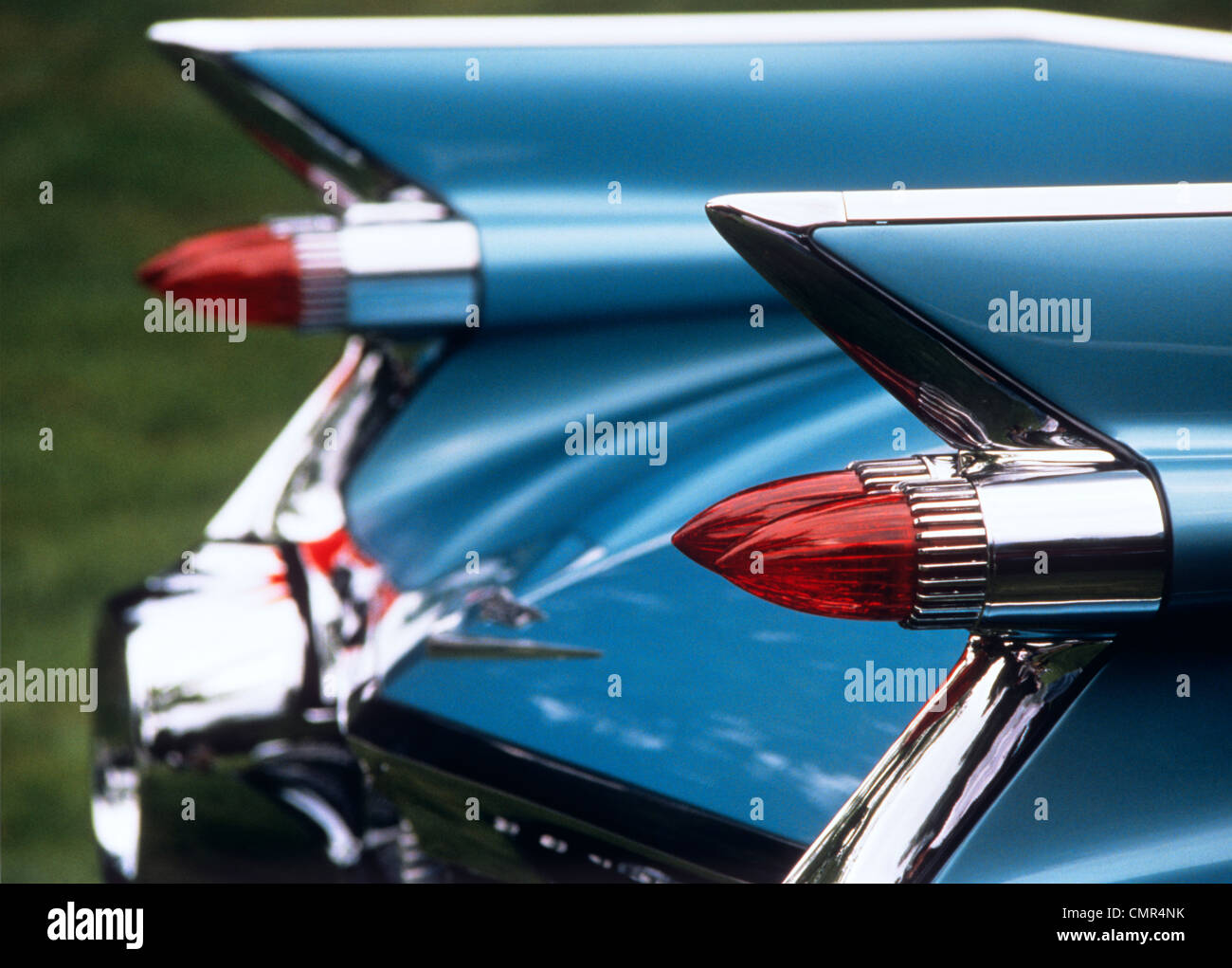 Car With Fins Stock Photos Images Alamy 1960 Plymouth Fury Station Wagon 1950s 1960s Detail Rear Tail Lights Blue Cadillac Automobile Image