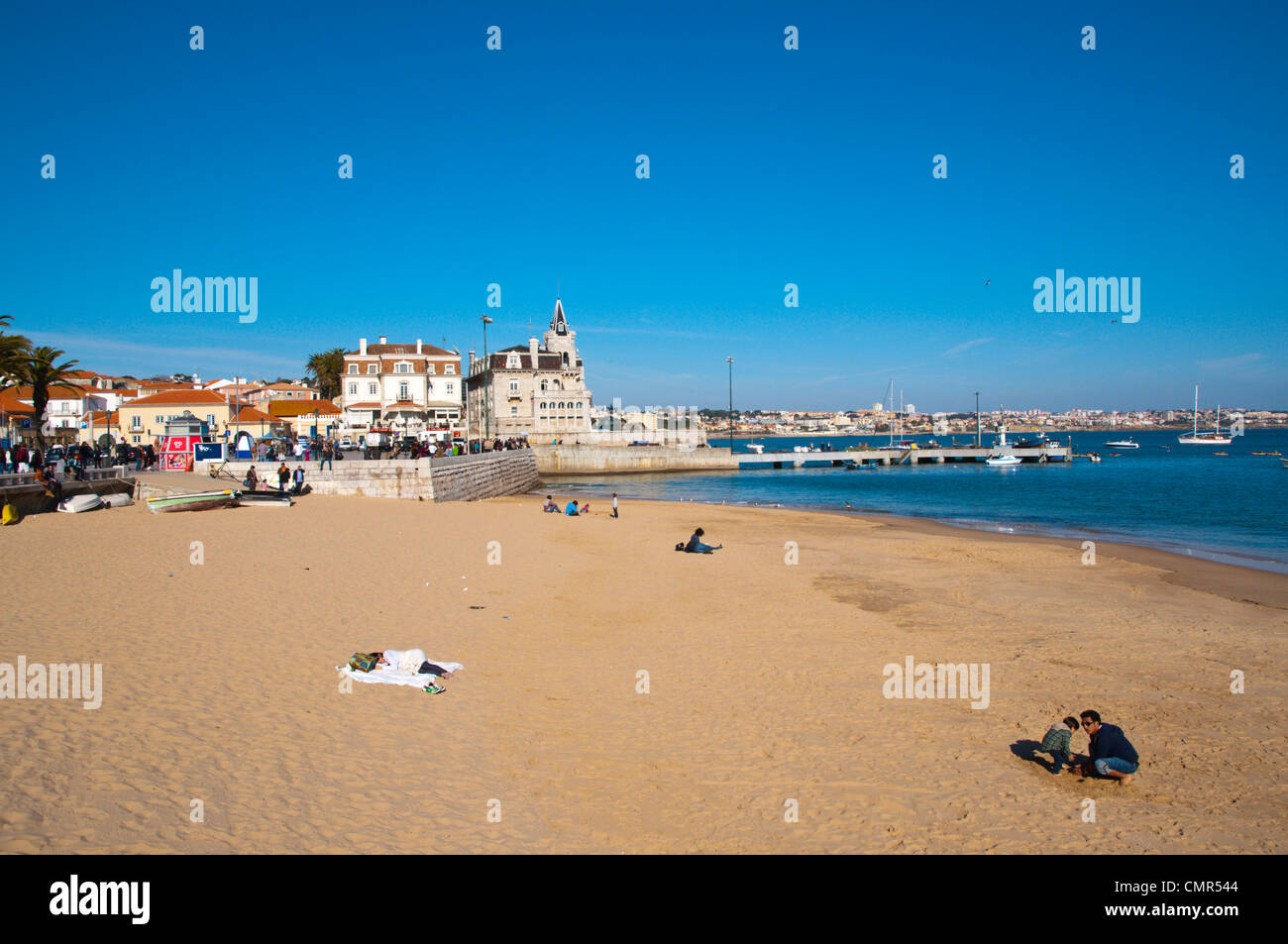 Praia de Ribeira beach Cascais coastal resort near Lisbon Portugal Europe - Stock Image