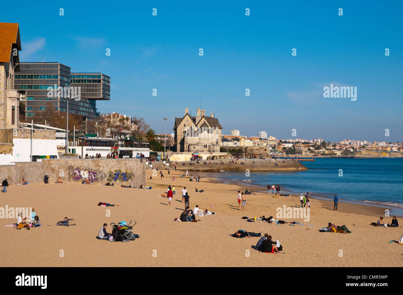 Praia de Conceicao beach Cascais coastal resort near Lisbon Portugal Europe - Stock Image