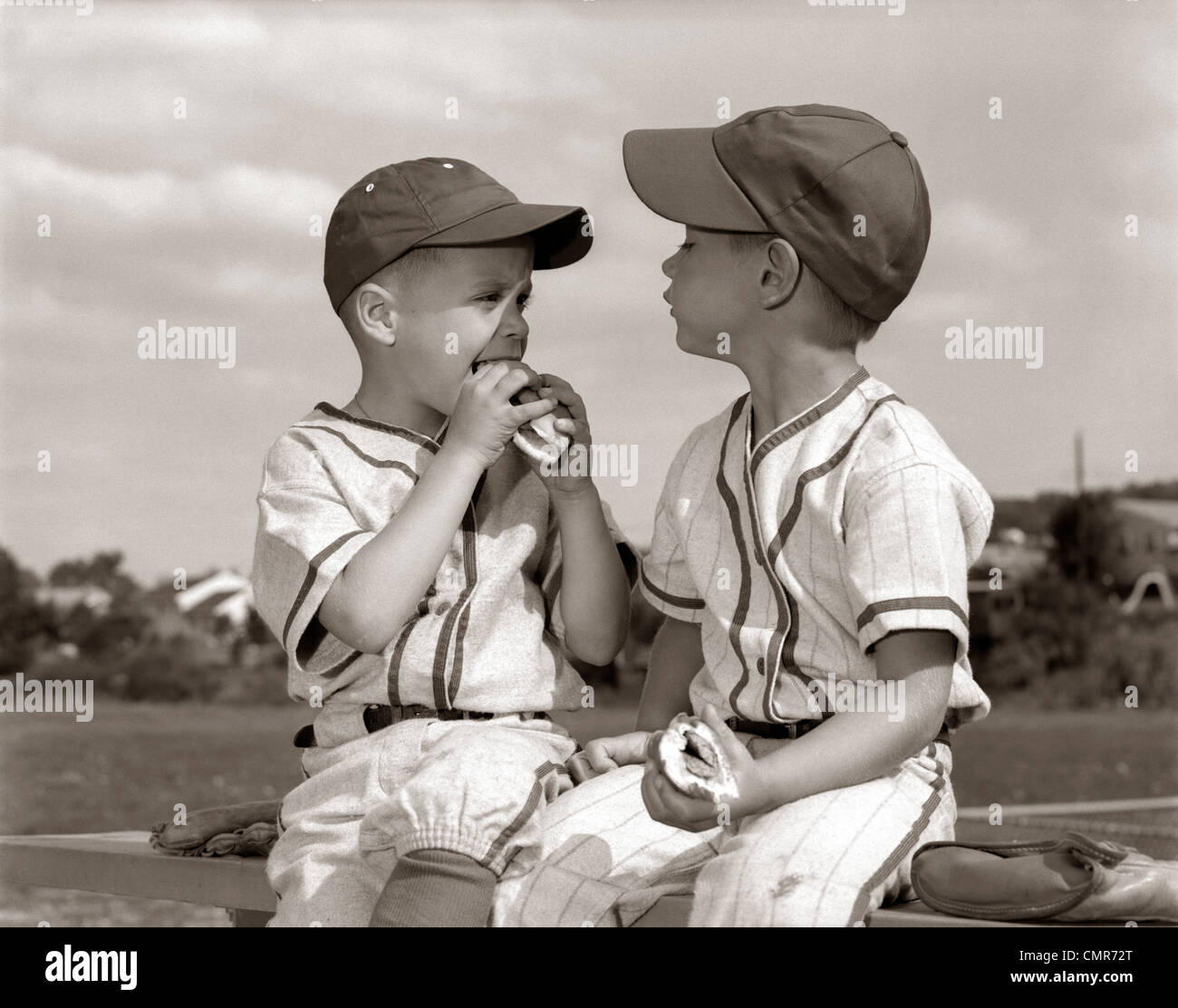 1960s Little League Baseball Boys In Caps And Uniforms ...