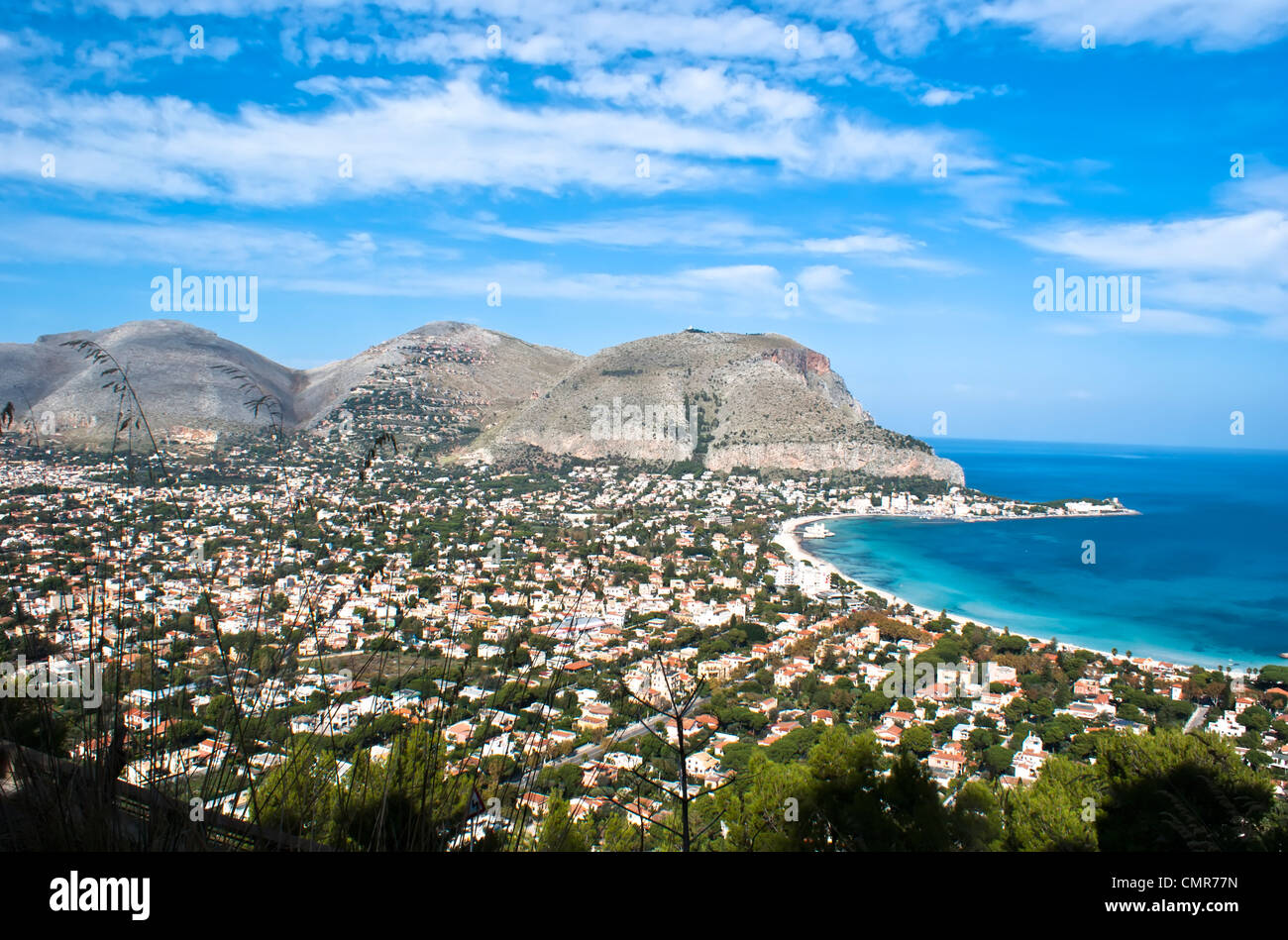 Panoramic view of the mondello's gulf. Palermo- Sicily - Stock Image