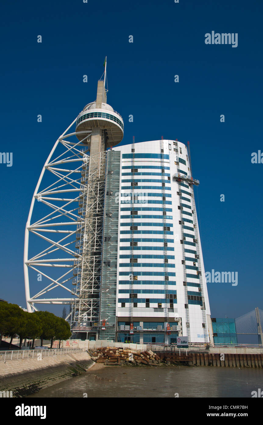 Torre Vasco da Gama tower with hotel extension Parque das Nacoes the Park of Nations area Lisbon Portugal Europe - Stock Image