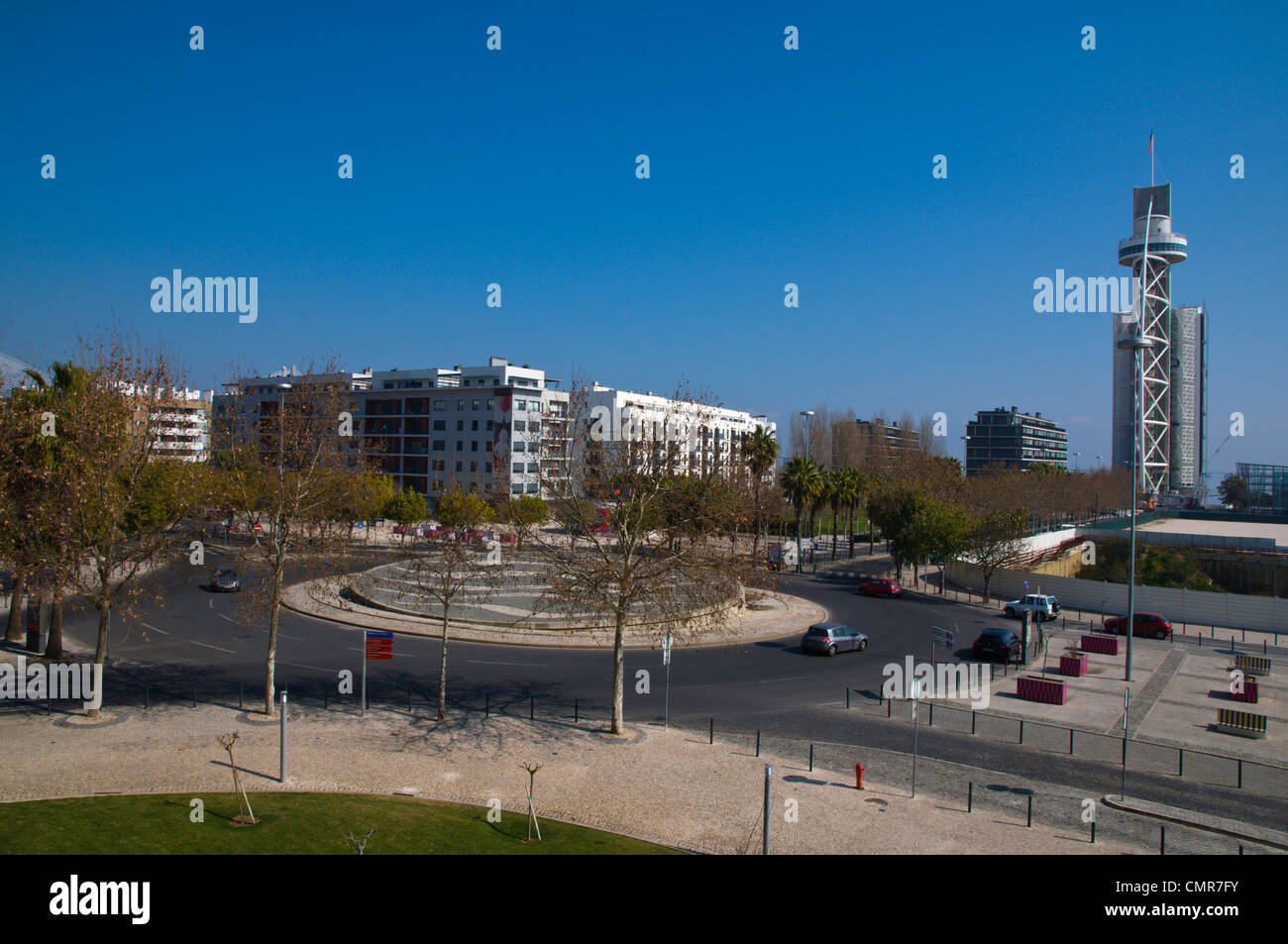 Rotunda dos Vice-Reis roundabout Parque das Nacoes the Park of Nations area Lisbon Portugal Europe - Stock Image