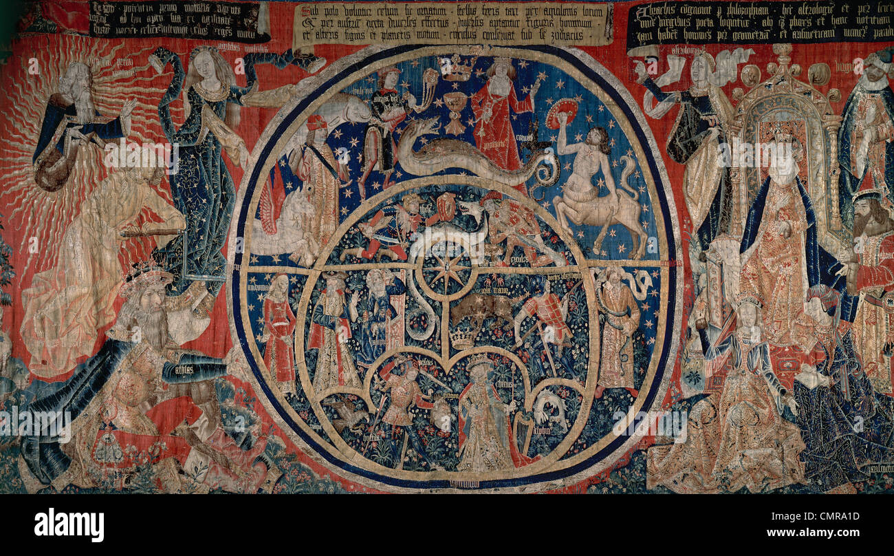 Tapestry of the Astrolabes. 15th century. Flemish. - Stock Image