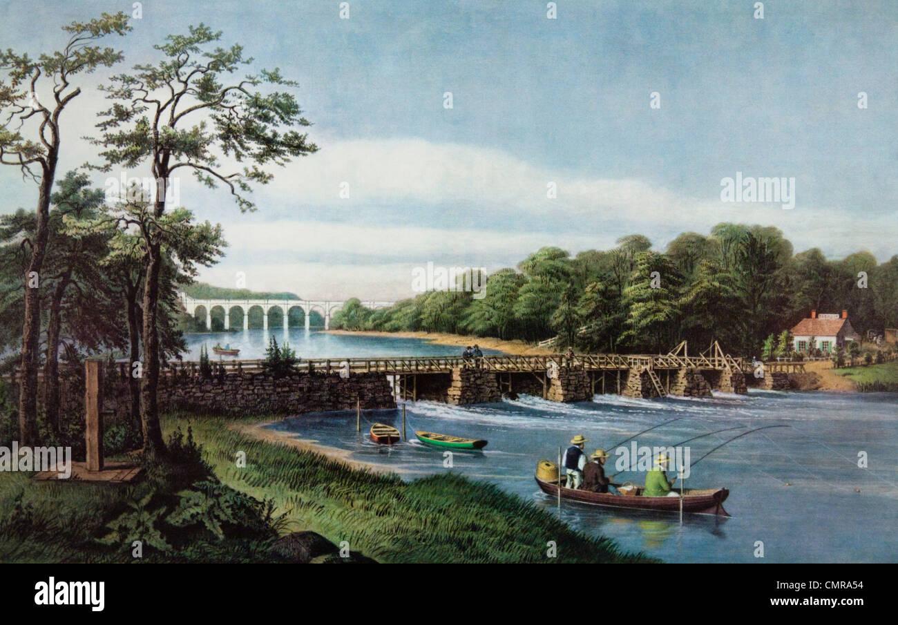 1800s FISHING AT MACOMB DAM HARLEM RIVER, NY CURRIER & IVES PRINT 1852 - Stock Image