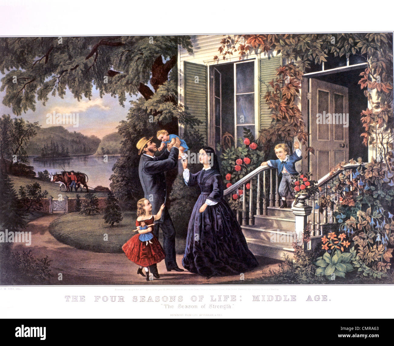 1800s THE SEASONS OF LIFE MIDDLE AGE SEASON OF STRENGTH CURRIER & IVES PRINT 1868 - Stock Image