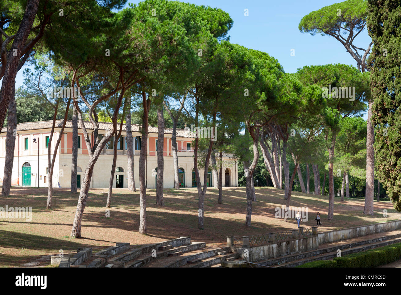 Stables alongside Piazza di Siena in borghese gardens in Rome - Stock Image