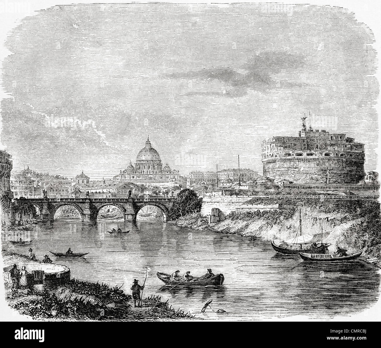 St. Peters with the bridge and Castel Sant'Angelo, Rome, Italy in the late 19th century. - Stock Image