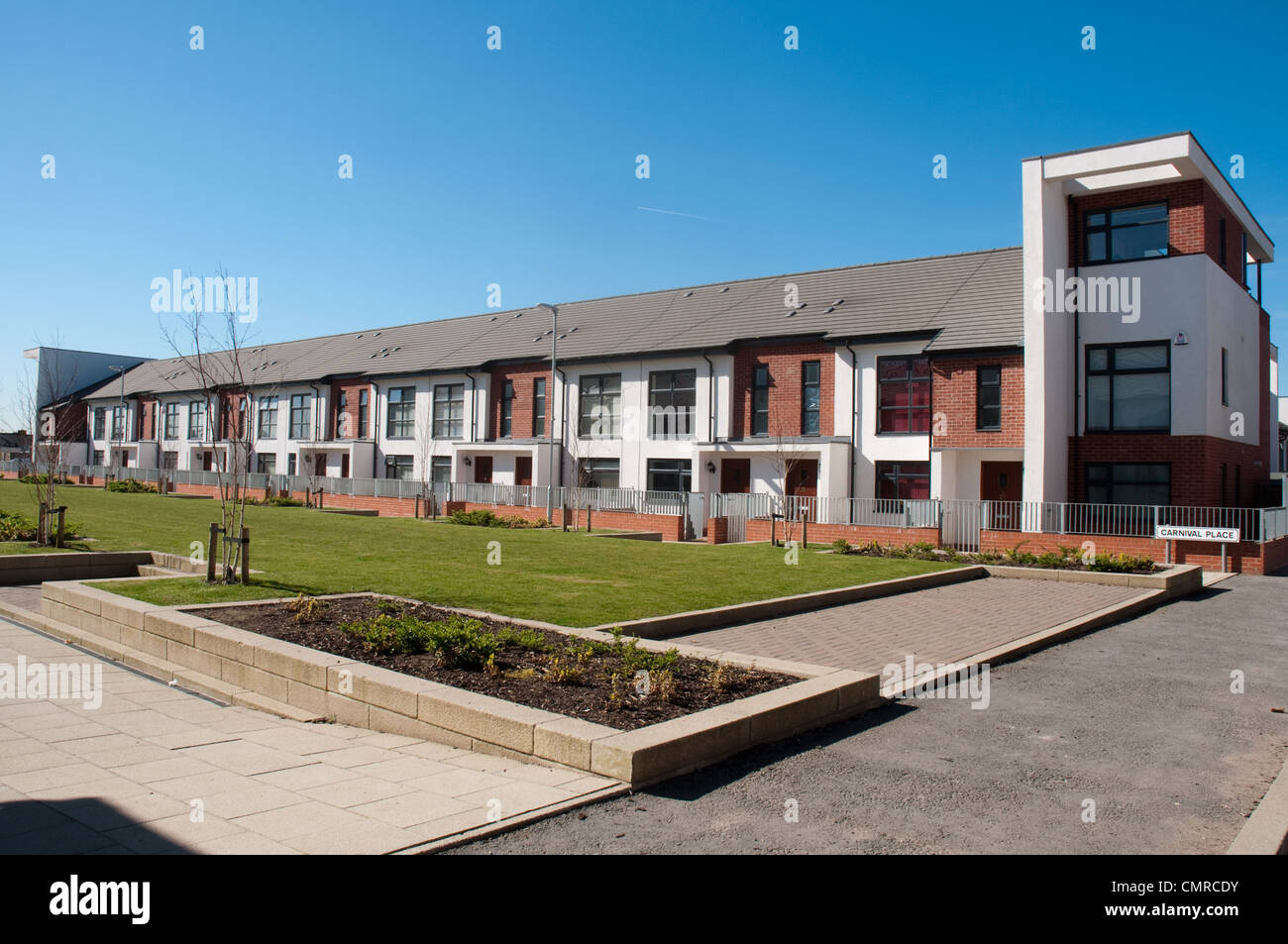 The Maine Place a development by Prospect Homes, built on the site of Maine Road Stadium, former home to Manchester Stock Photo