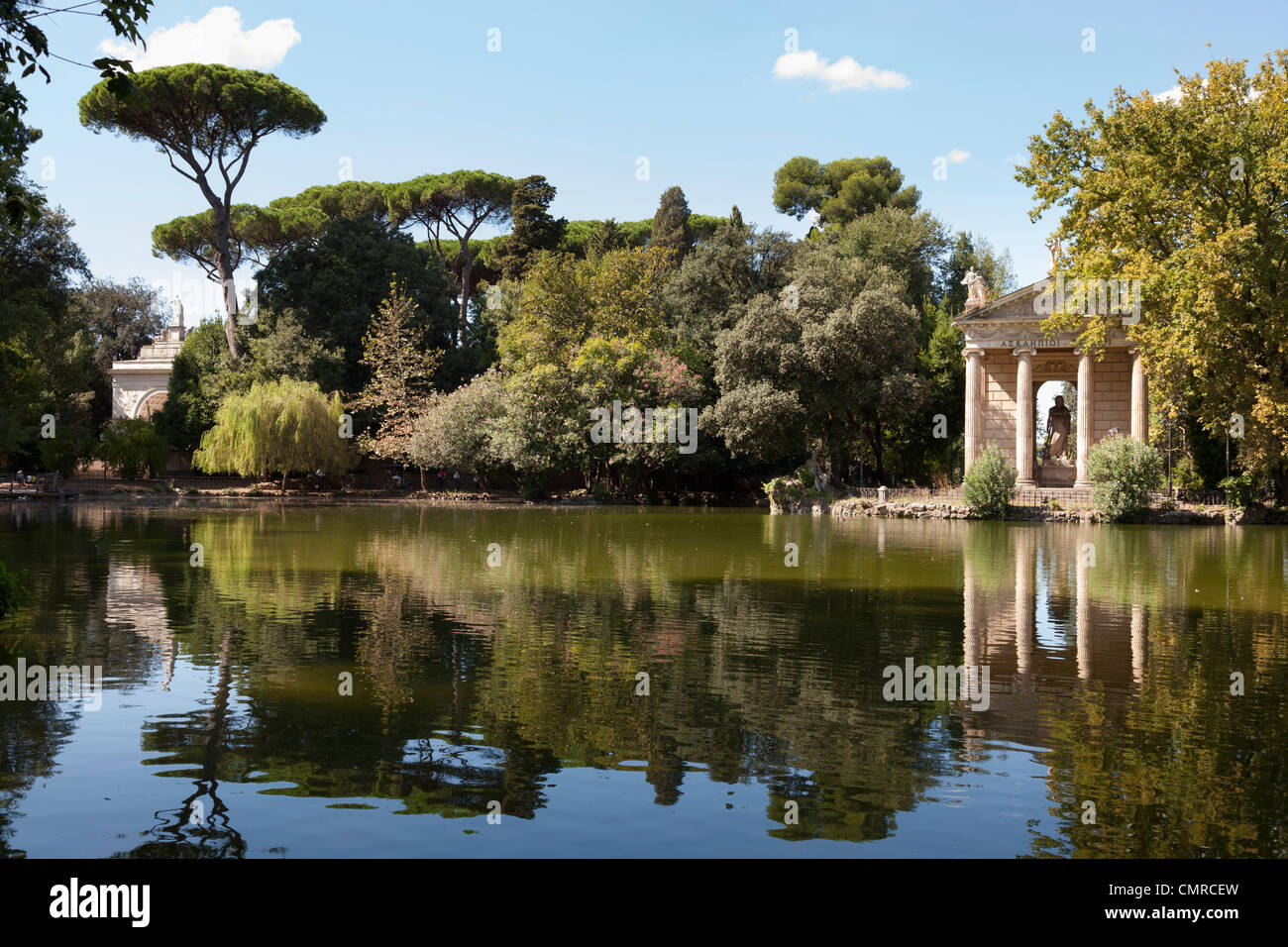 Temple of Aesculapius and lake in the villa borghese gardens in Rome ...