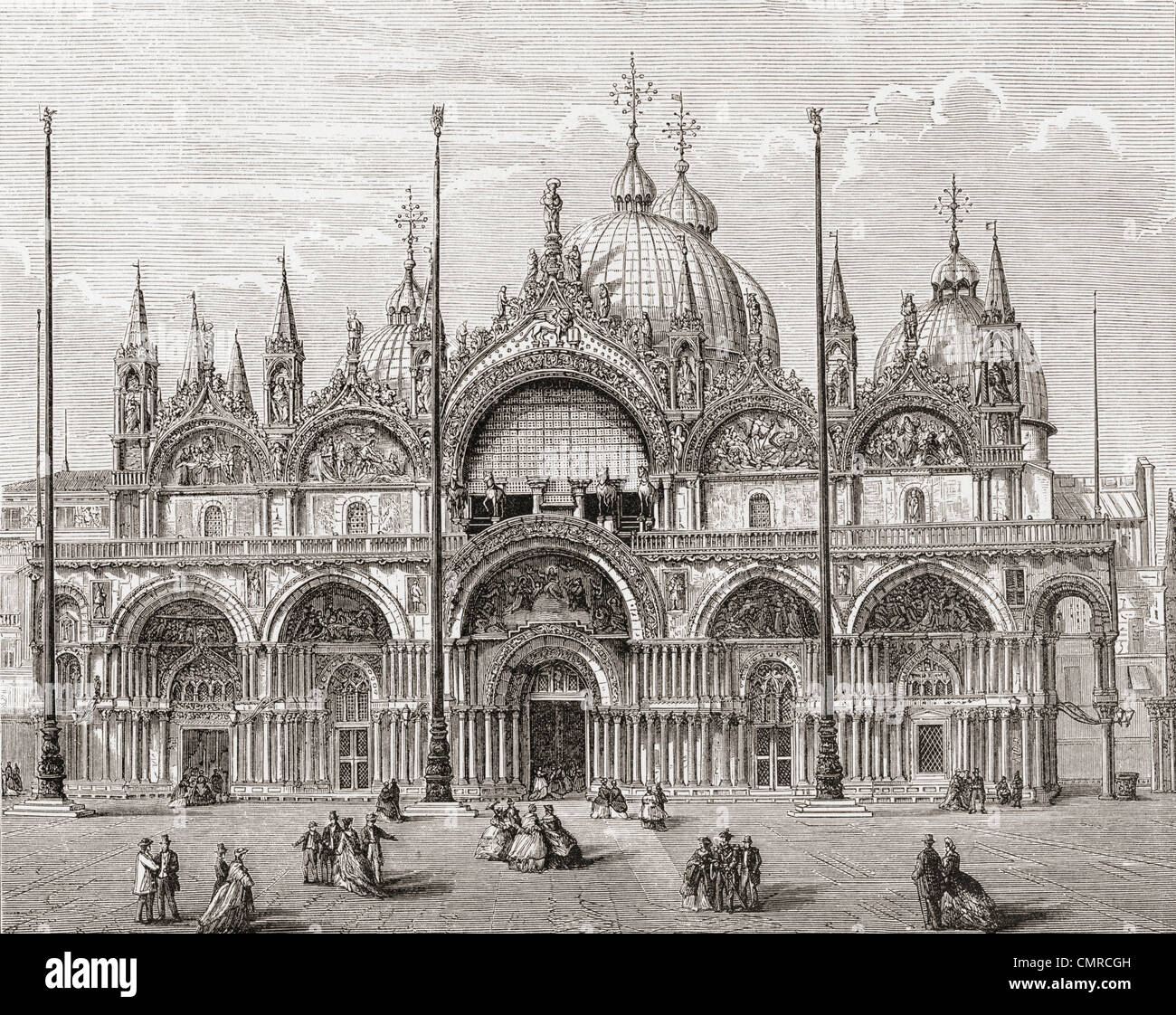 The Patriarchal Cathedral Basilica of Saint Mark, or Saint Mark's Basilica, Venice, Italy in the late 19th century. - Stock Image