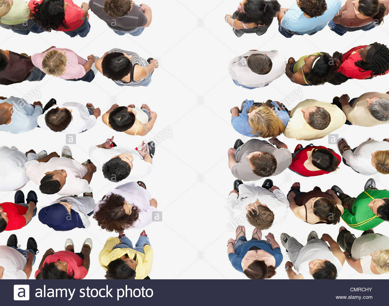 A crowd divided - Stock Image