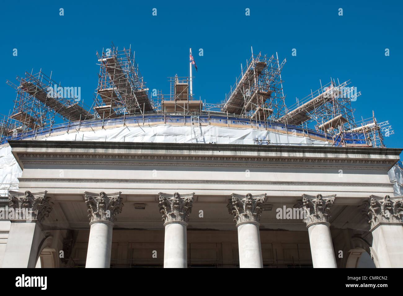 Scaffolding Central Library, St Peter's Square Manchester. The Grade II listed building is being refurbished, - Stock Image
