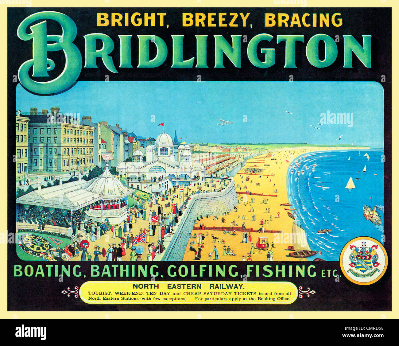 Bridlington, Promenade, 1913 poster from the North Eastern Railway for the Bright Breezy Bracing Yorkshire resort - Stock Image