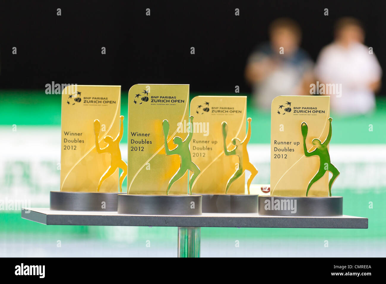 Award ceremony for double competition pairing champs and talents at BNP Paribas Open Champions Tour in Zurich - Stock Image