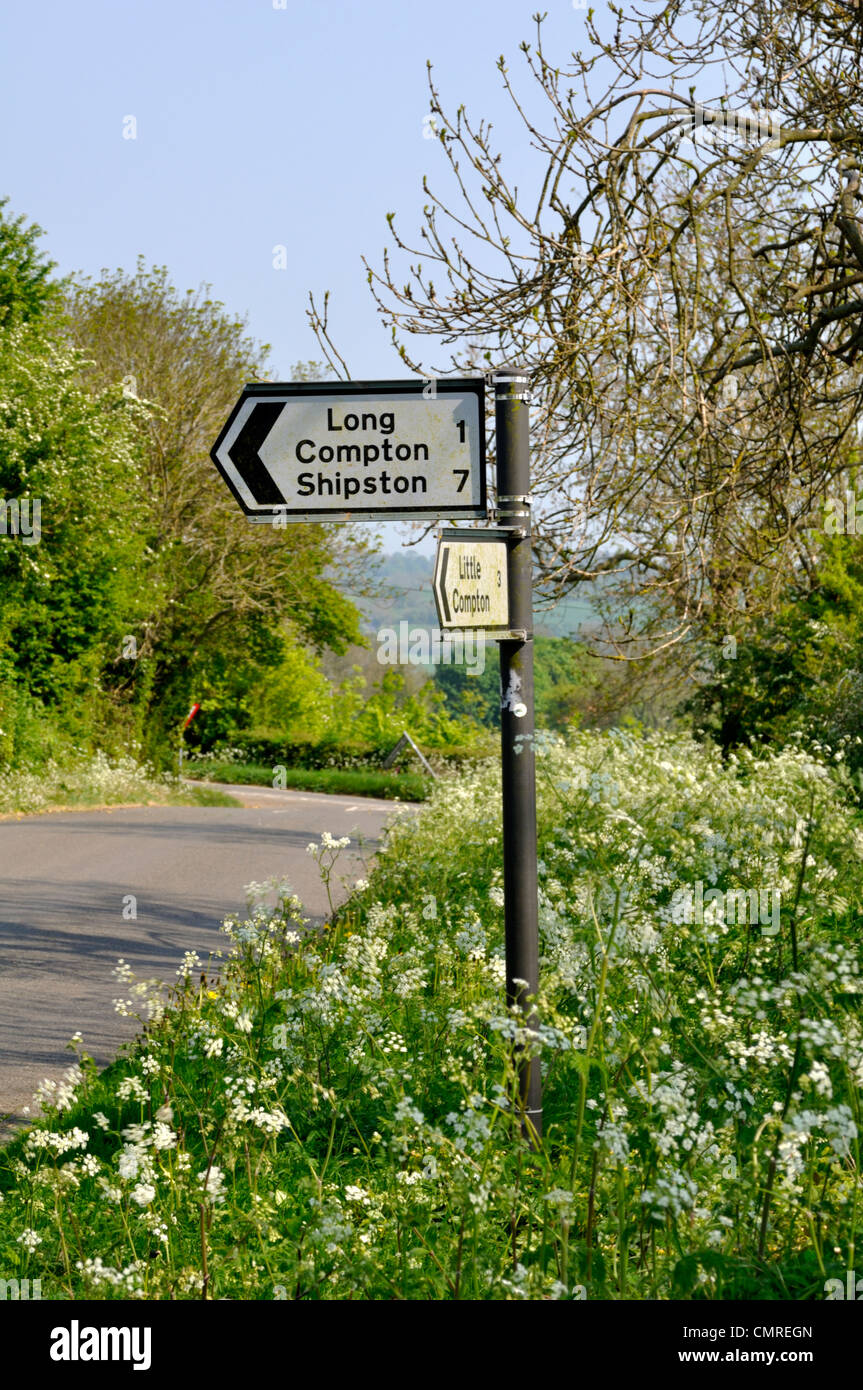 Signpost to Long Compton and Shipston in Warwickshire, England. - Stock Image