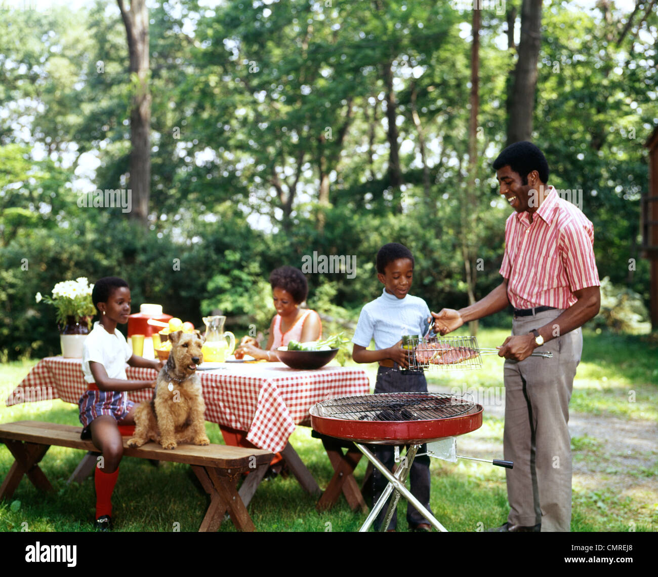 Backyard Picnic 1970s african american family backyard picnic barbecue stock photo