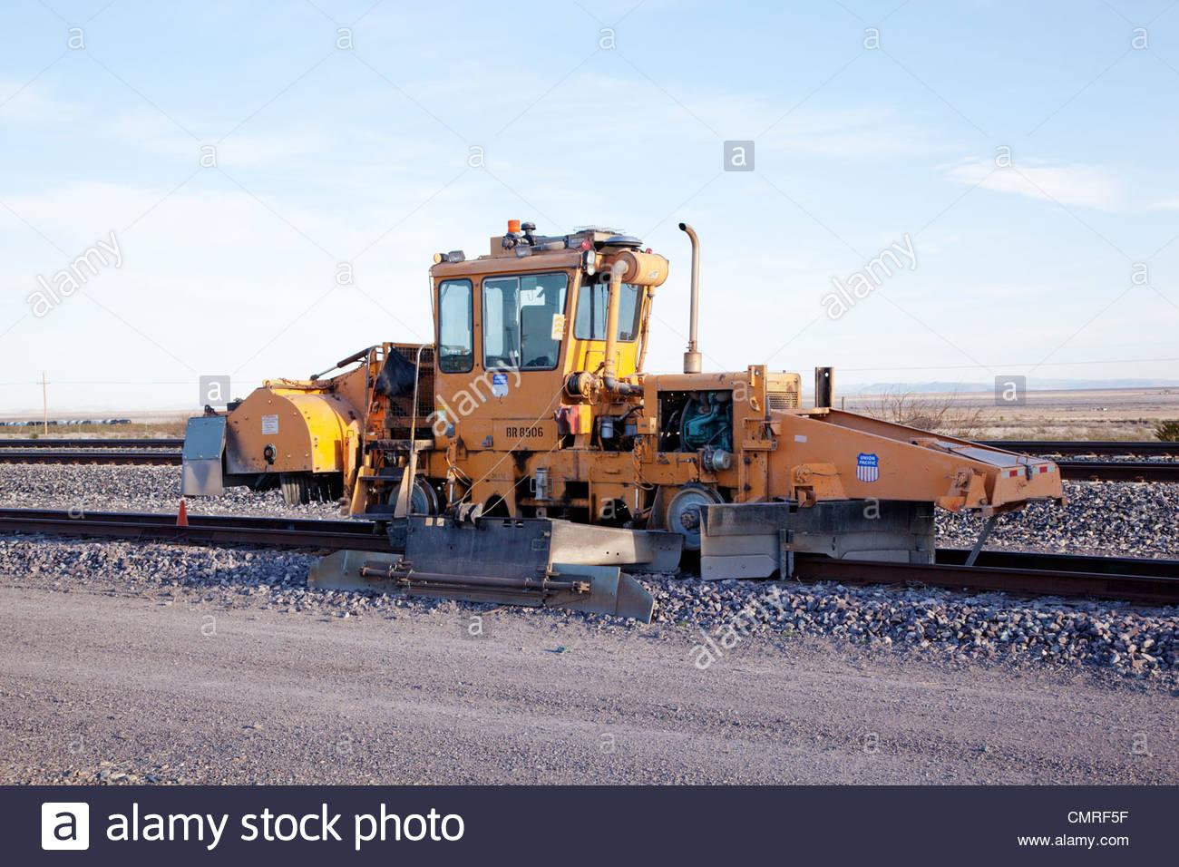 Ballast Regulator railroad equipment 'New Mexico' - Stock Image