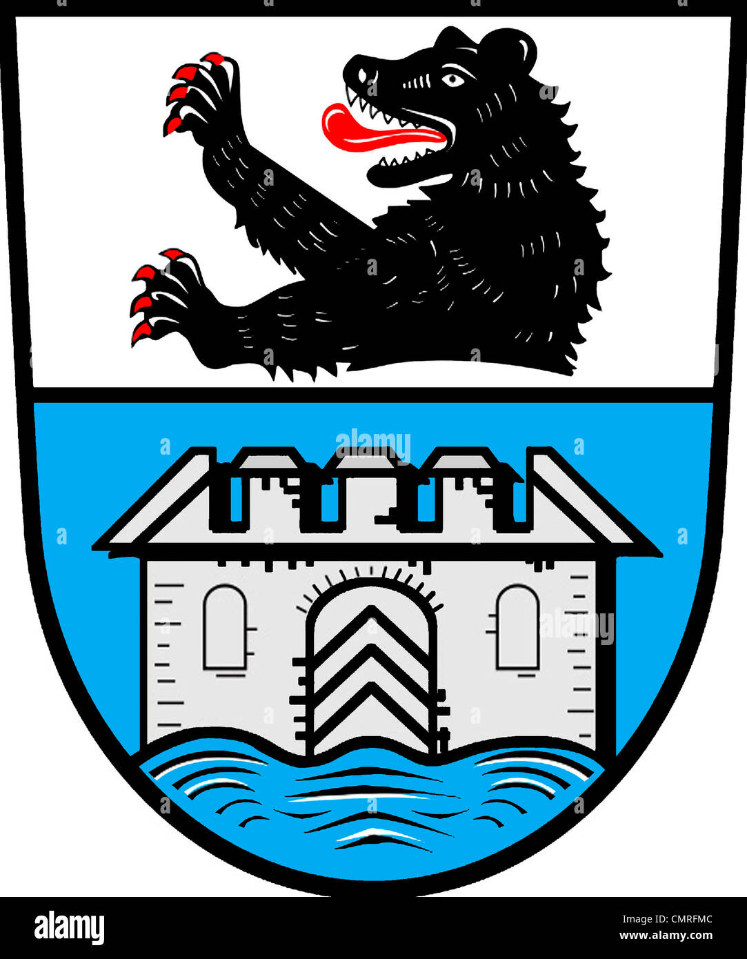 Coat of arms of the city Wasserburg at Lake Constance. Stock Photo