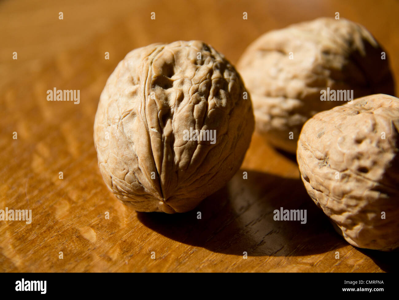 Walnuts on the table on sunlight - Stock Image