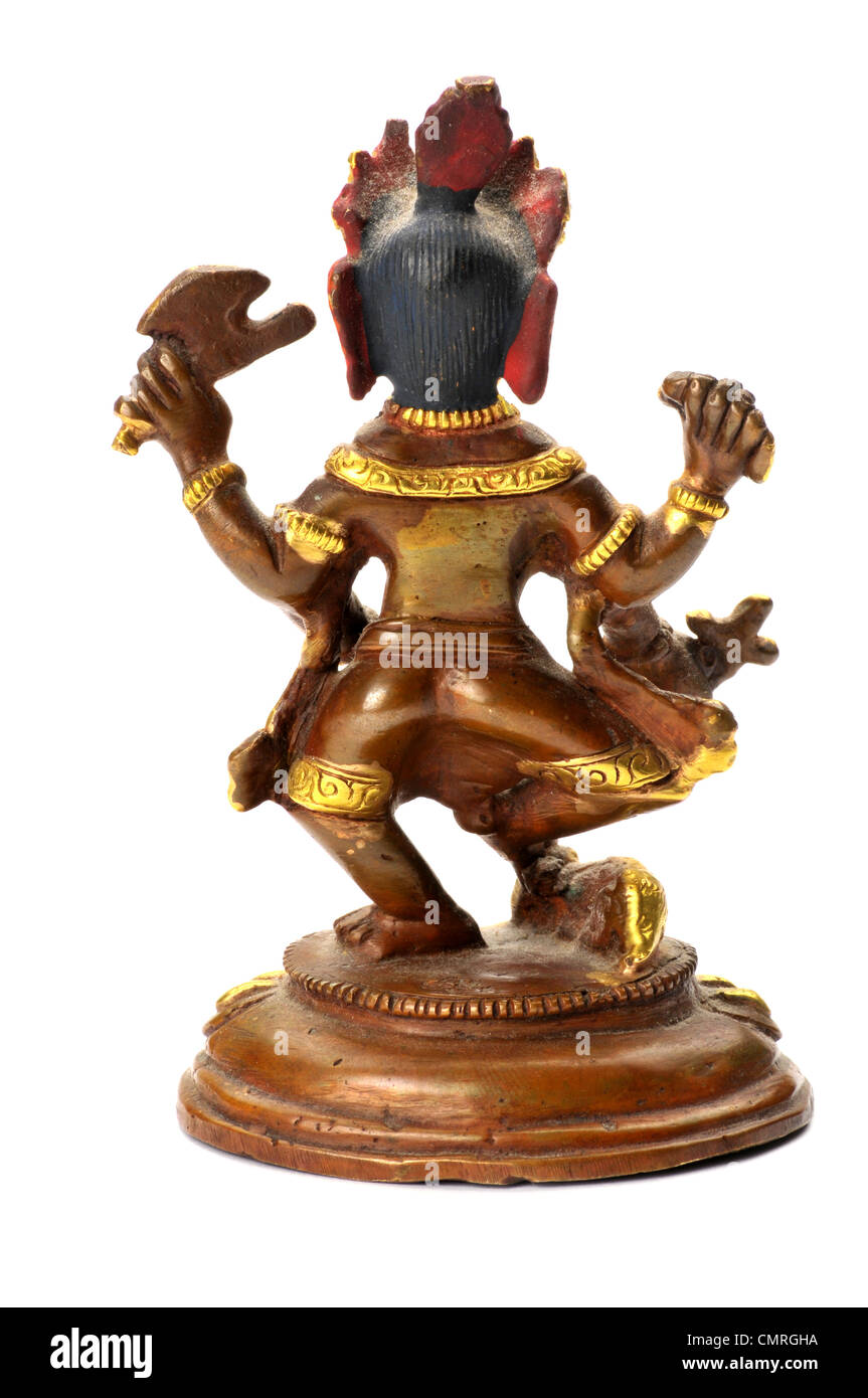 Brass statue of ganesh Indian religious diety - Stock Image