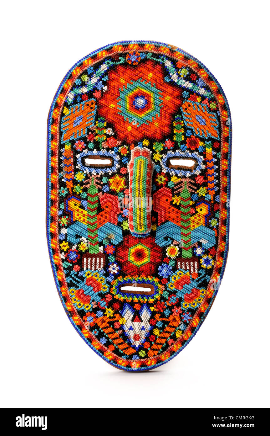 hand beaded Mexican mask - Stock Image