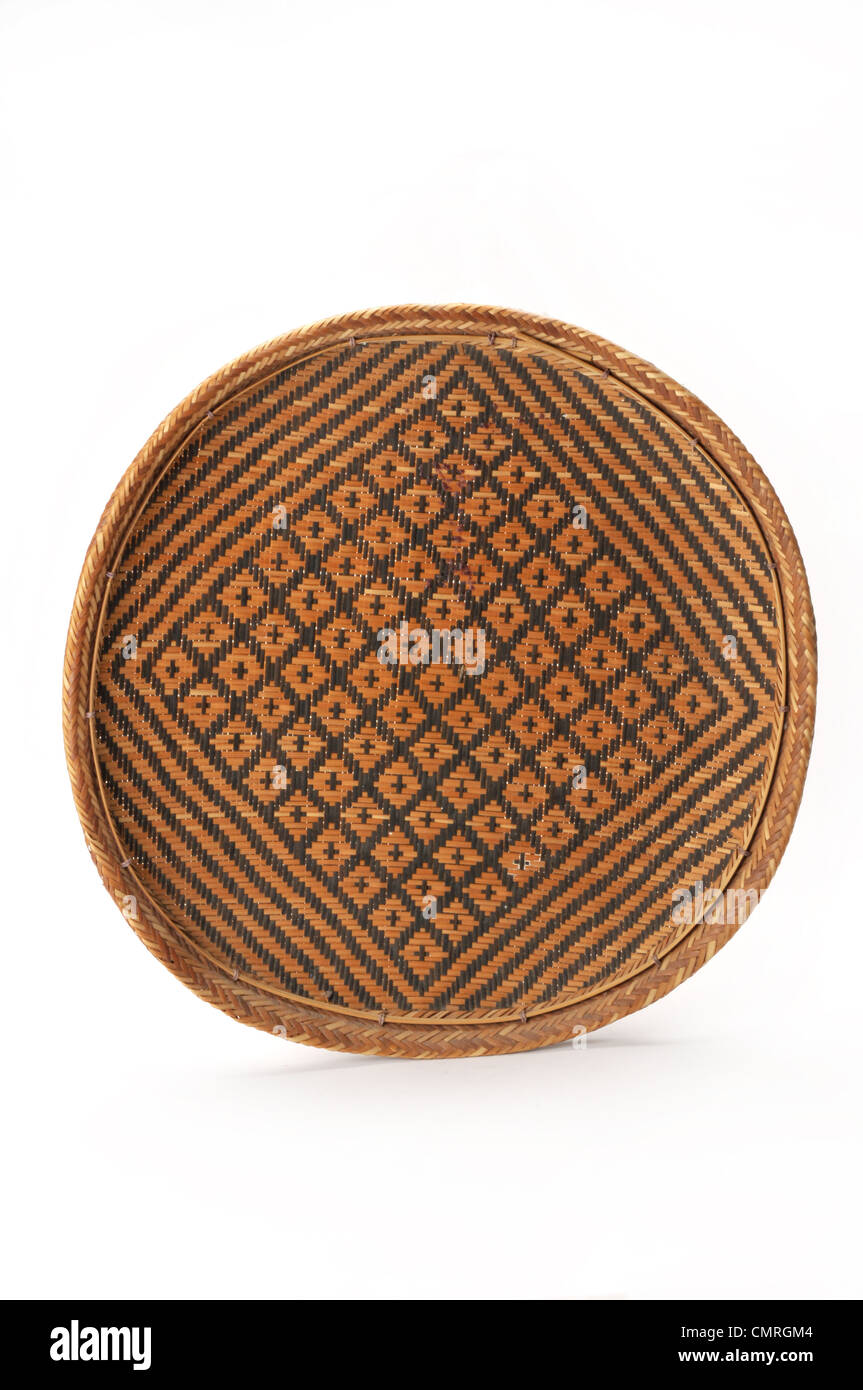 hand woven reed straw basket - Stock Image
