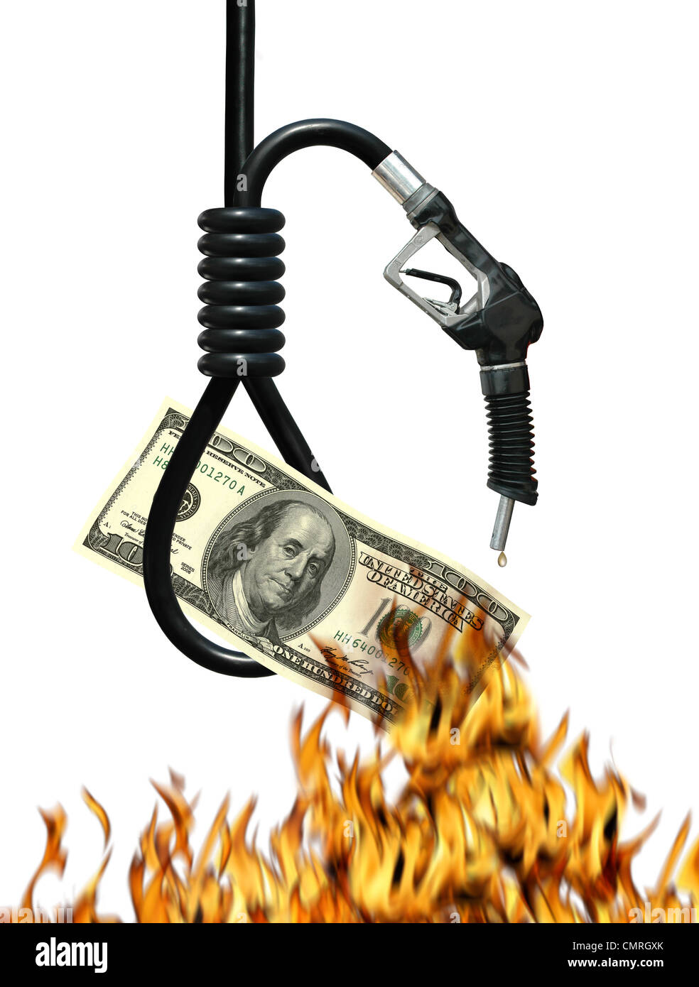 Noose, gas nozzle, money and fire metaphor symbolizing the cost of oil - Stock Image
