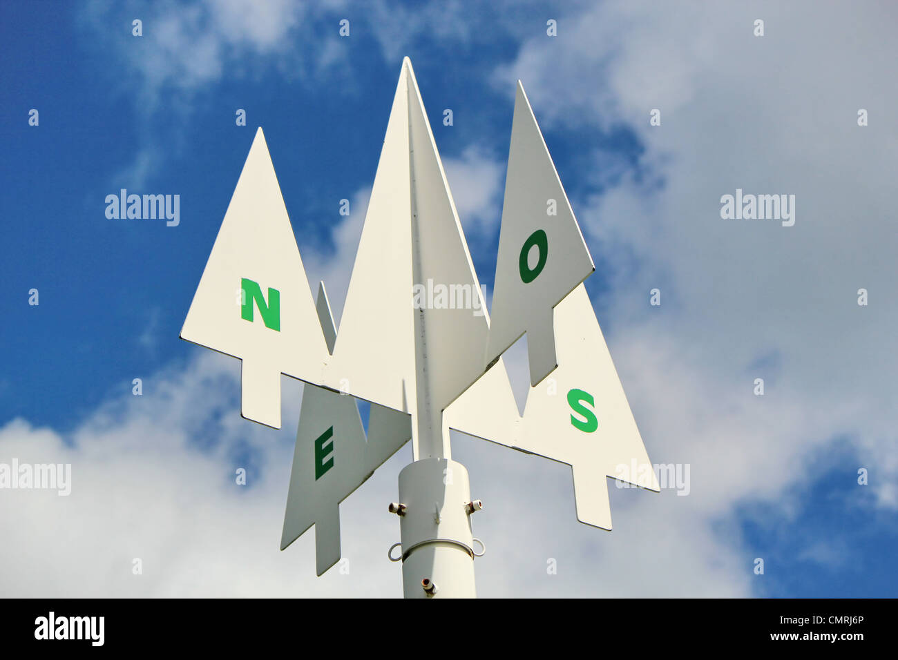 Direction signpost showing the compass points North,South,West and East against a cloudy blue sky. Stock Photo