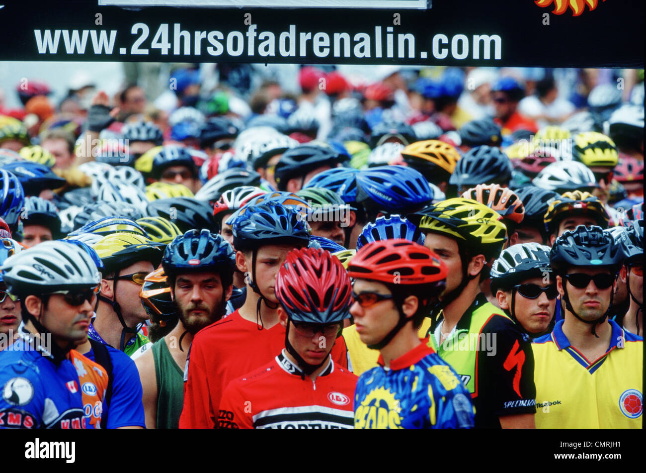 Participants gather for the annual 24 Hours of Adrenalin mountain Bike event, Toronto, Ontario. - Stock Image