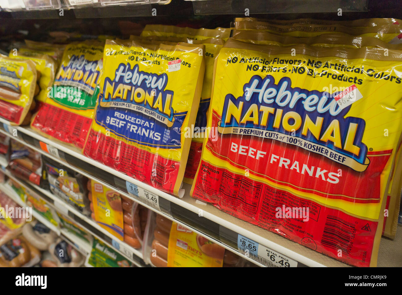 Packages of Hebrew National franks are seen in a supermarket cooler in New York - Stock Image