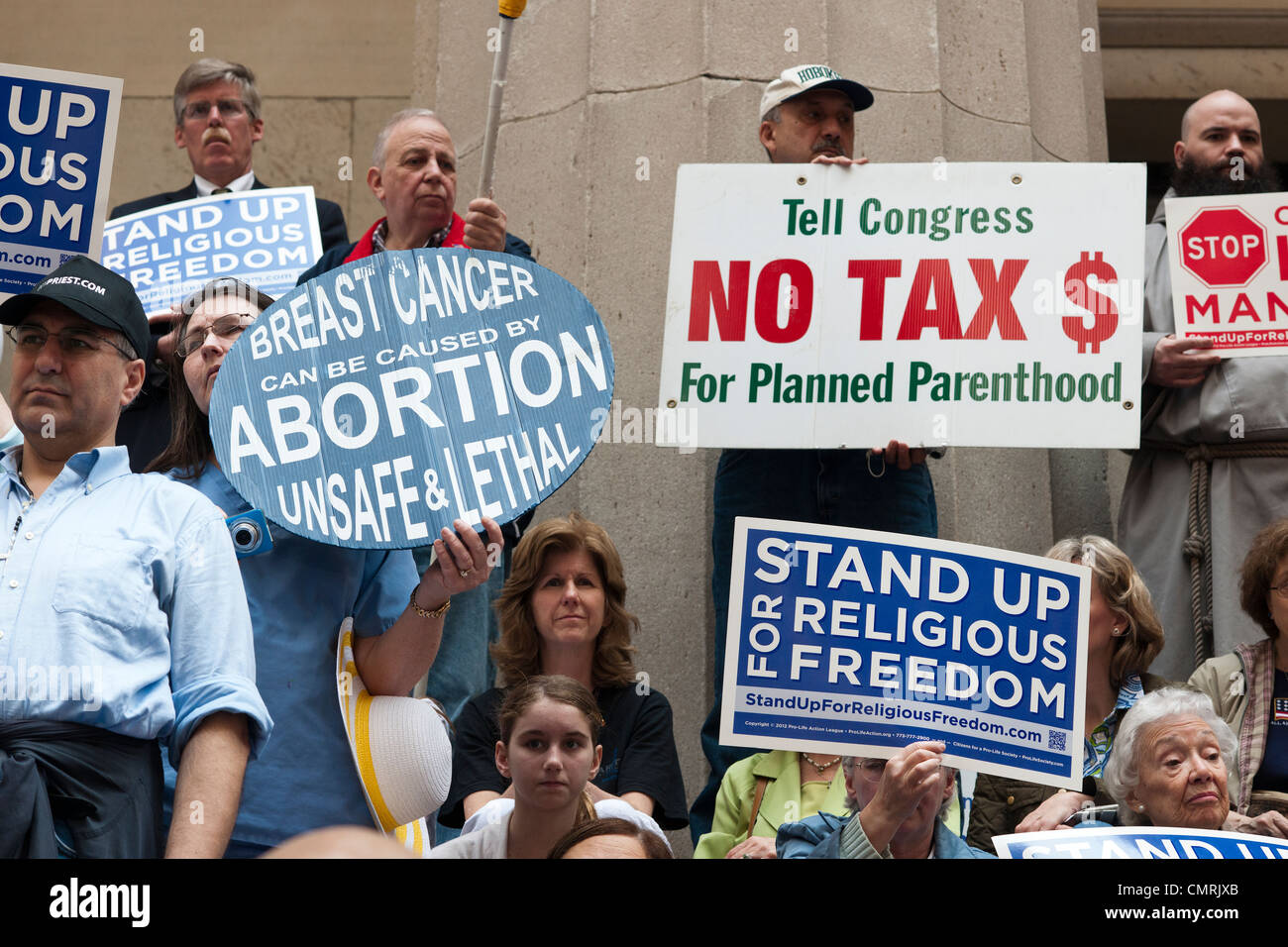 Members of various religious pro-life groups protest in  New York against the implementation of ObamaCare Stock Photo