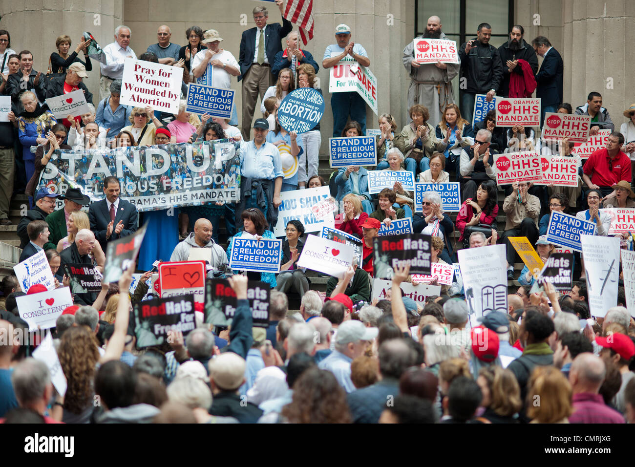 Members of various religious pro-life groups protest in  New York against the implementation of ObamaCare - Stock Image