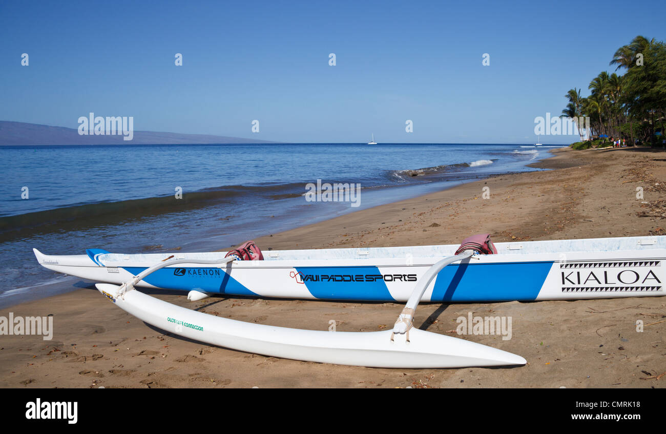 Outrigger canoe available for tours in Maui at Hanakaoo Beach Park, which is south of Kaanapali Beach - Stock Image