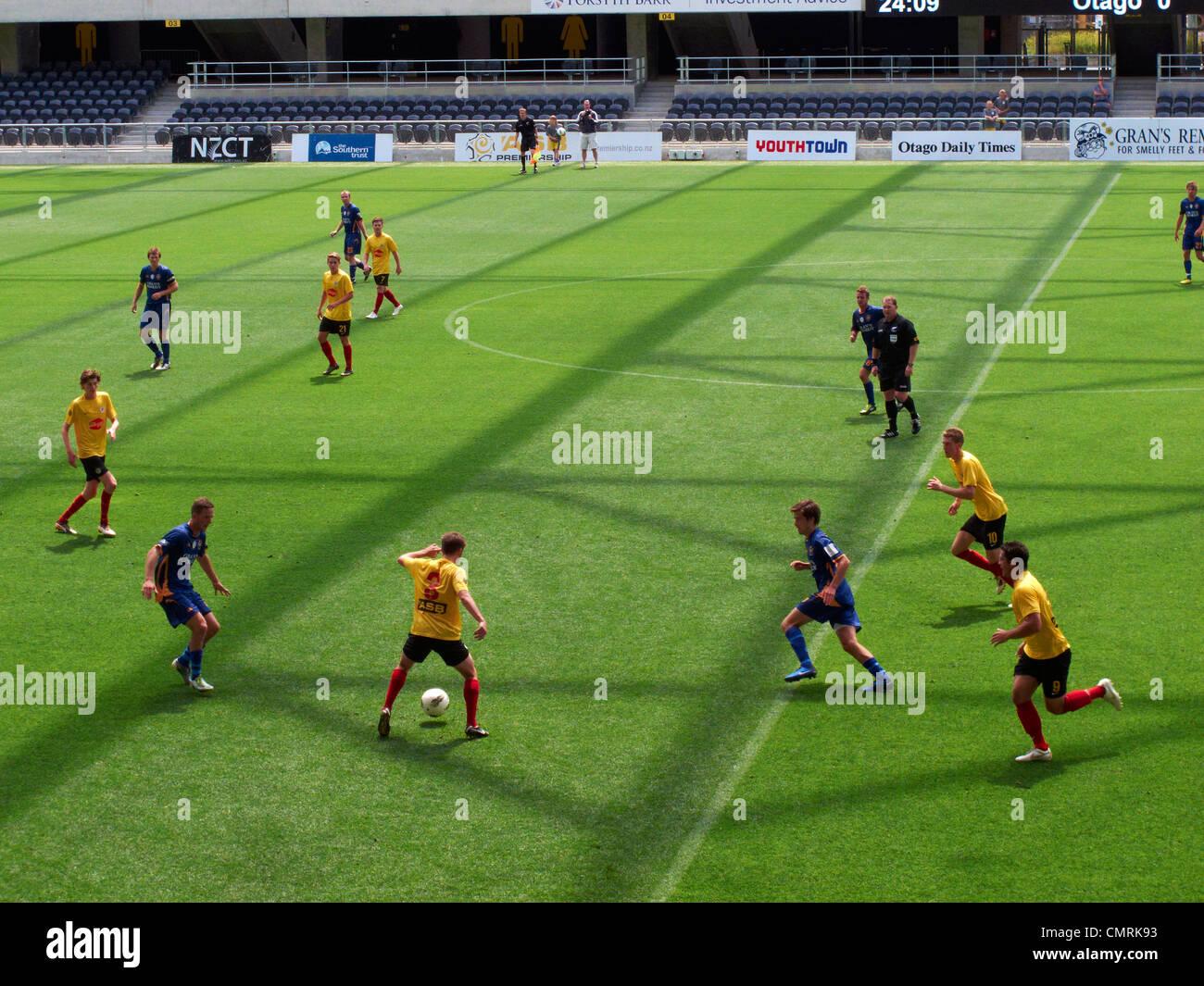 Football game, Forsyth Barr Stadium, Dunedin, South Island, New Zealand - Stock Image