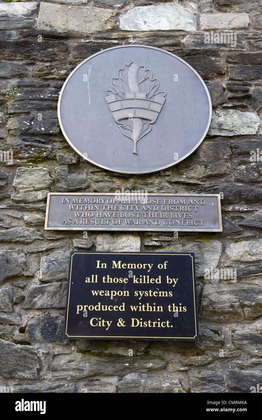 war memorial and war victims plaques embedded in derrys city walls Derry city county londonderry northern ireland - Stock Image