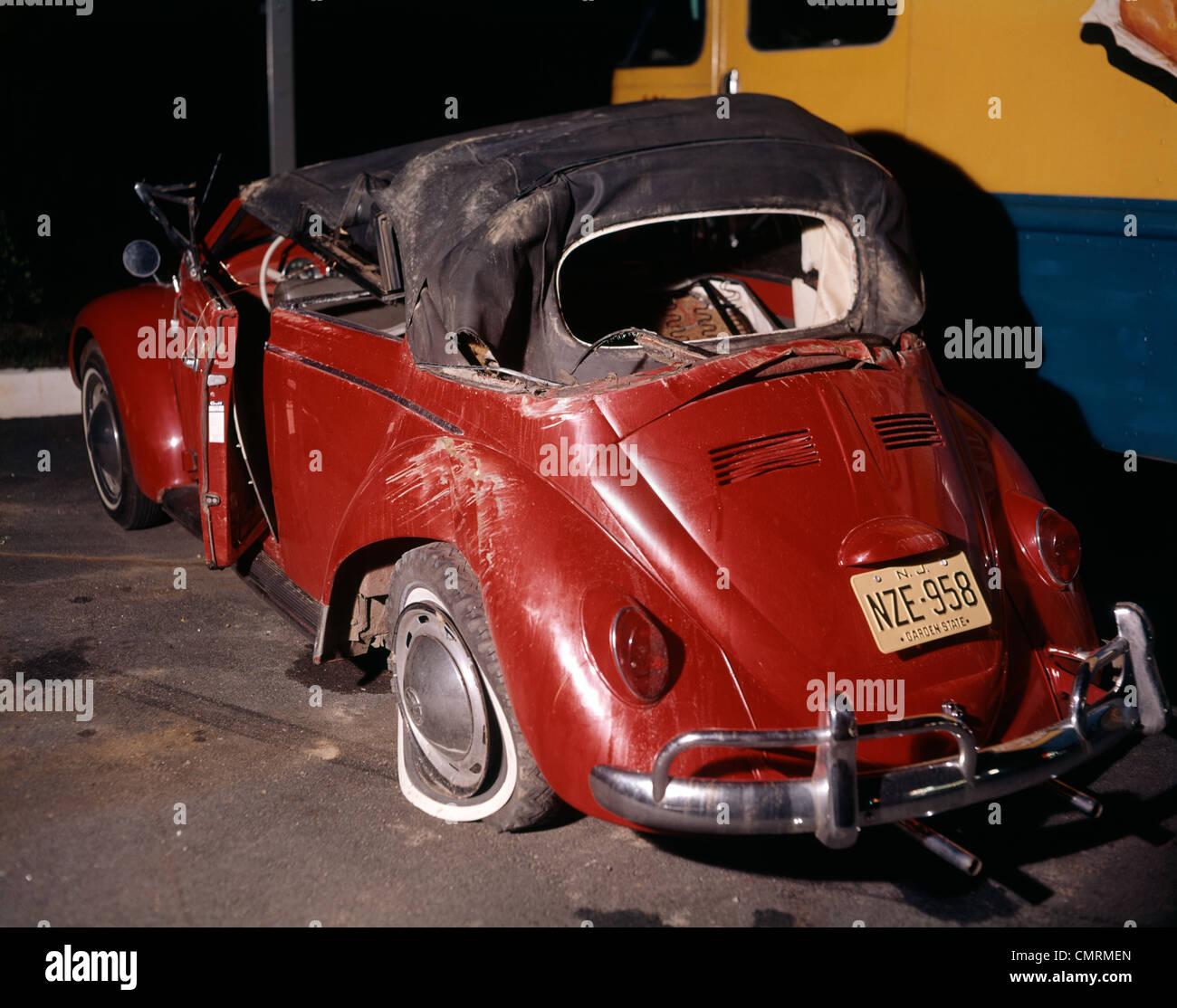 1960 1960s RED VOLKSWAGEN BUG BEETLE CAR CONVERTIBLE WRECK