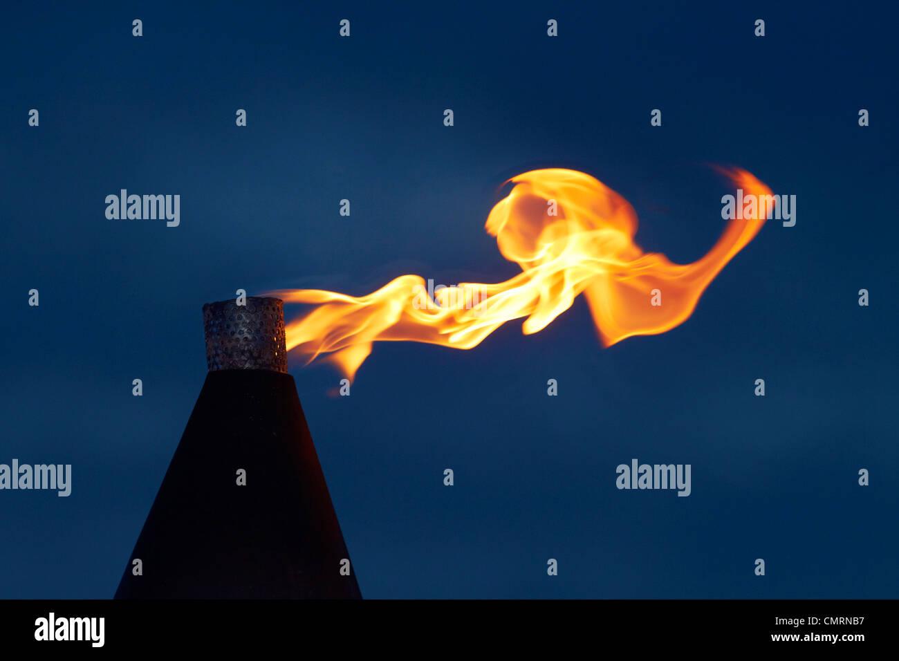 Flame on kerosene lantern, Crusoe's Retreat, Coral Coast, Viti Levu, Fiji, South Pacific - Stock Image