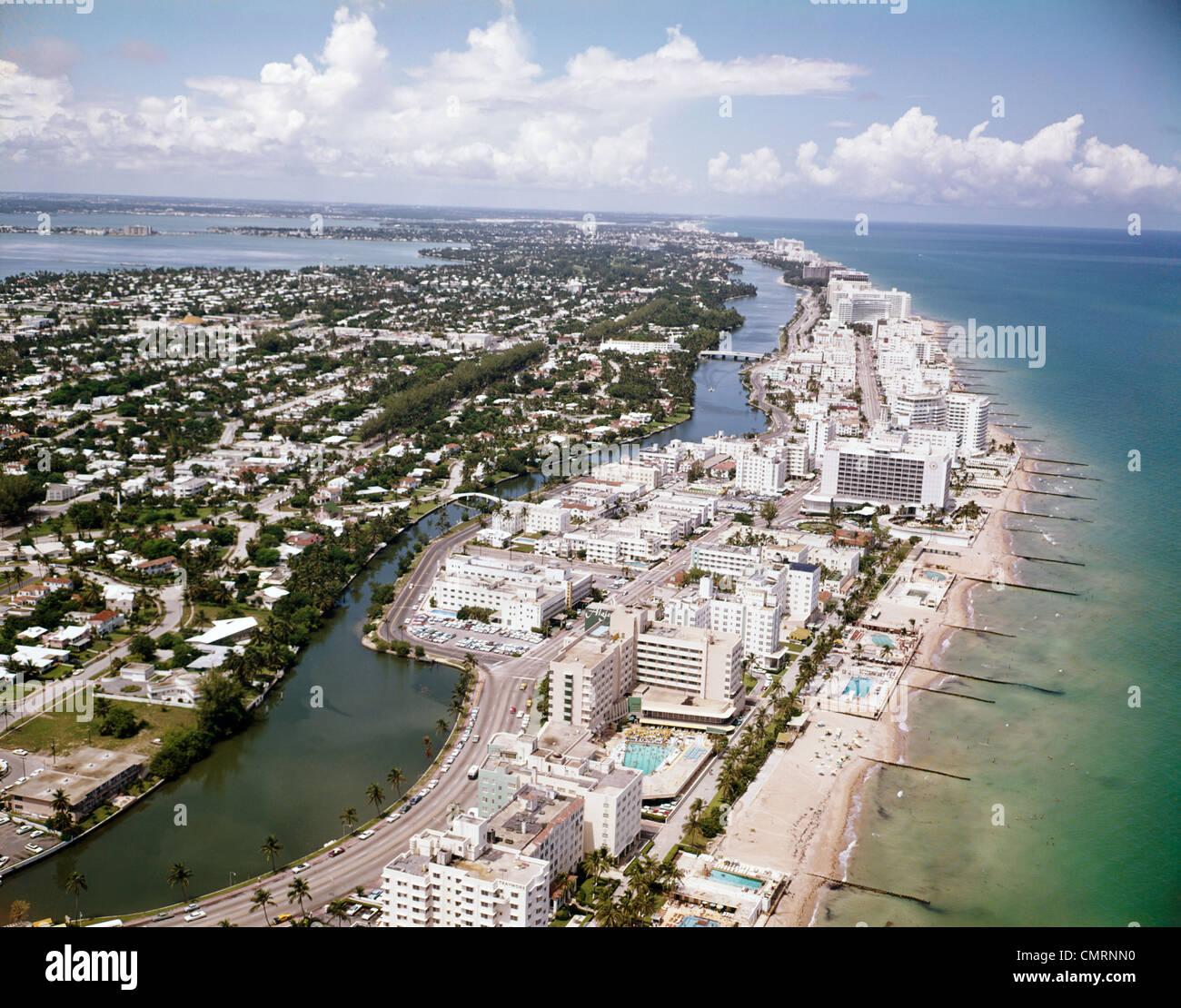 1960s Aerial View Hotel Row Miami Beach Florida Retro Stock Photo