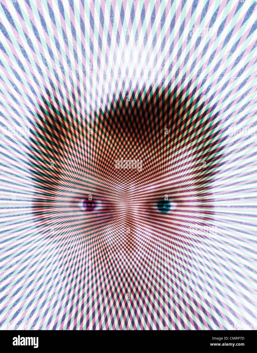 1970s SPECIAL EFFECT PSYCHEDELIC PATTERN OVER PORTRAIT BLONDE MAN FAN OUT FROM EYES STARE WEIRD 3 DIMENSIONAL HOLOGRAM - Stock Image