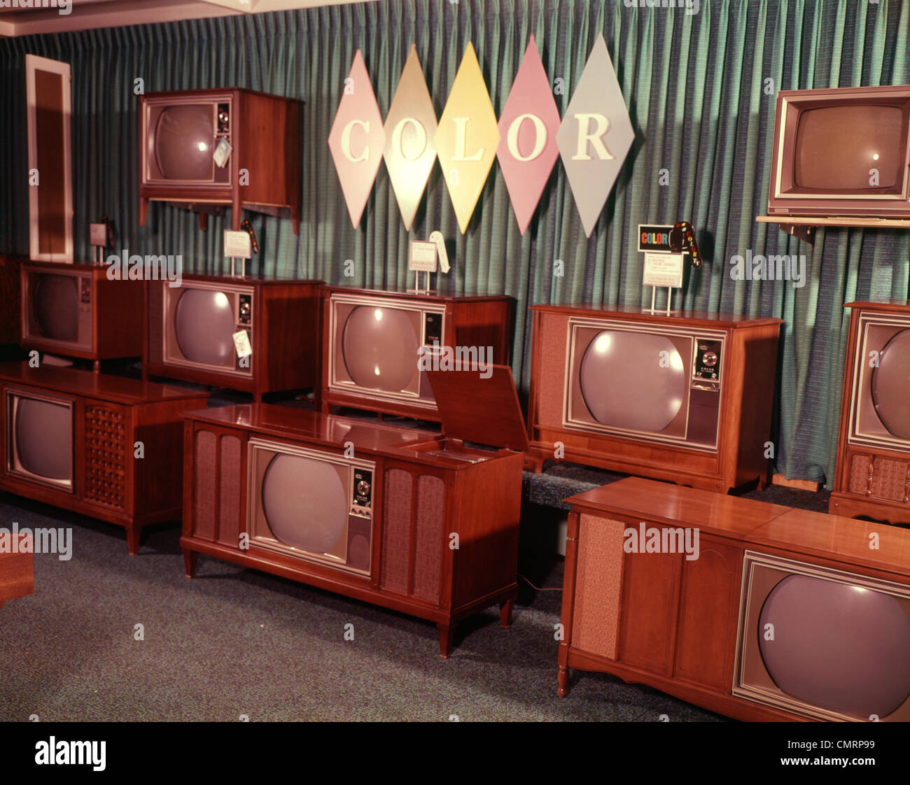 1960 1960s Display Of Color Television Sets For Sale
