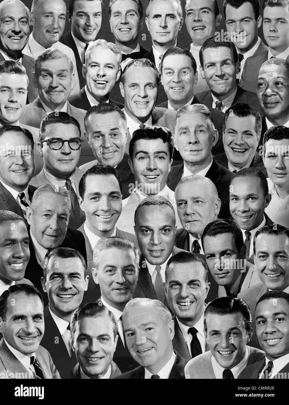 1960s 1970s MONTAGE OF MEN'S PORTRAITS ALL SMILING FACES - Stock Image