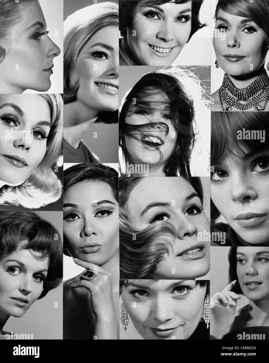 1960s 1970s MONTAGE OF CLOSE-UP PORTRAITS OF WOMEN'S HEADS EYES NOSES MOUTHS HAIR - Stock Image