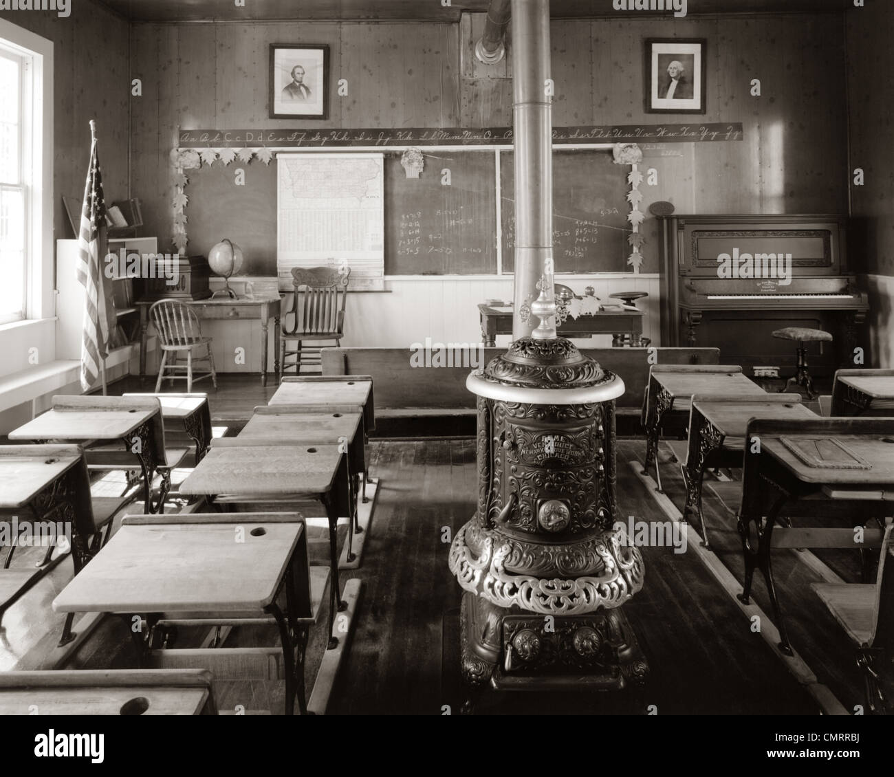 1900s Old Time Pioneer Classroom With Piano Amp Wood Burning
