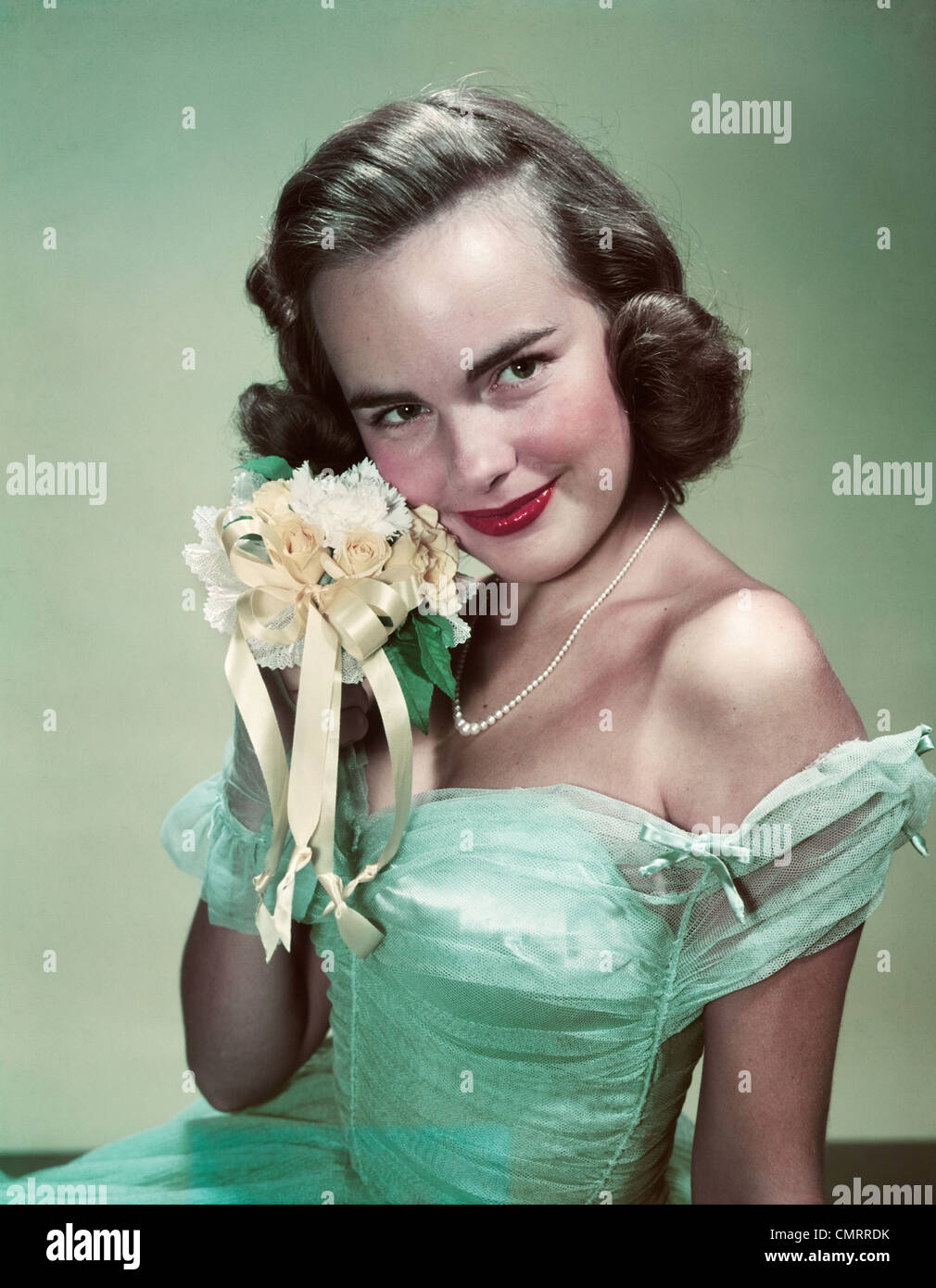 1940s 1950s Portrait Smiling Teen Girl Wearing Green Formal Dress