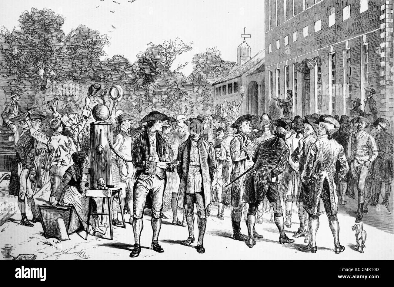 1770s JULY 8 1776 READING DECLARATION OF INDEPENDENCE BY JOHN NIXON STEPS OF INDEPENDENCE HALL PHILADELPHIA PA BY - Stock Image