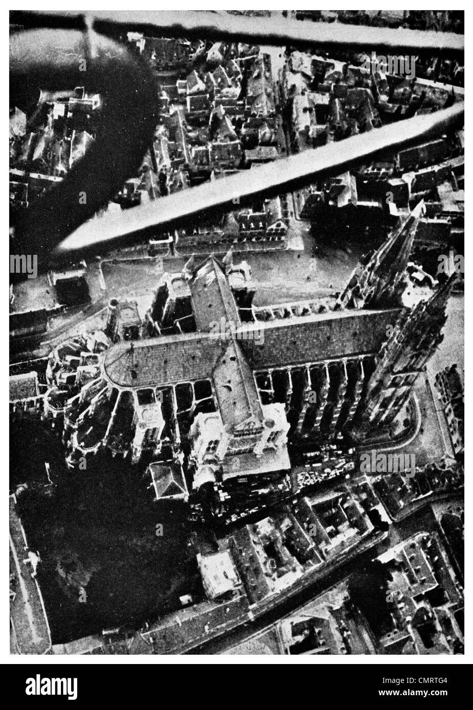 1918 Cross of Chartres cathedral France from Airplane plane airship - Stock Image