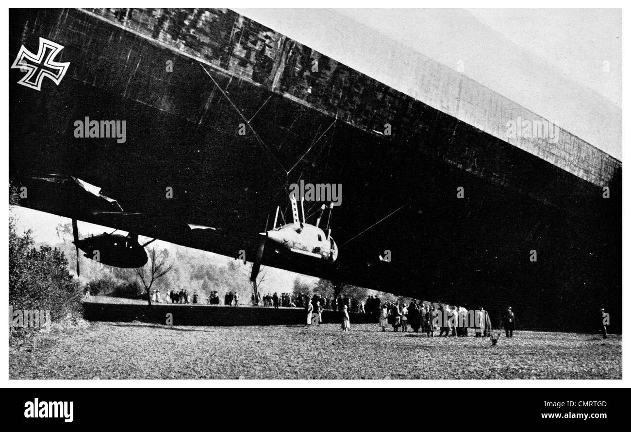 1918 German Zeppelin clipped by French Aaviator pilots airship - Stock Image